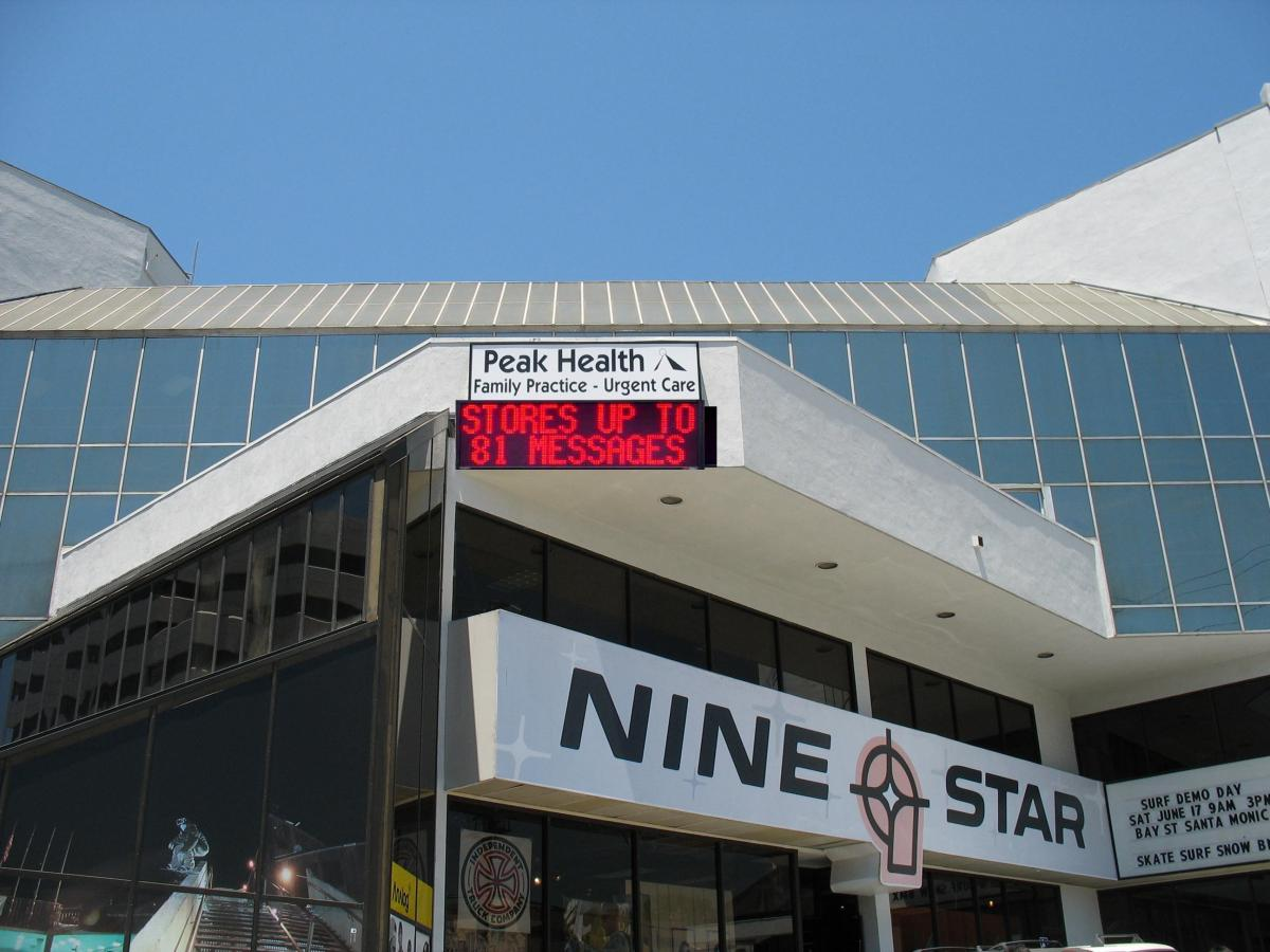 Medical building with outdoor LED sign