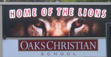 Outdoor LED sign at school entrance